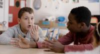 Un Film Dramatique Film Still of Two Children Talking